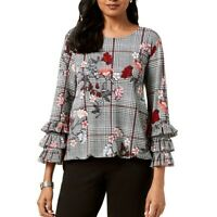ALFANI NEW Women's Floral Ruffle-sleeve Blouse Shirt Top TEDO