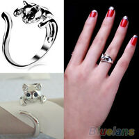 HK- Fashion Jewelry Womens Cool Silver Plated Kitten Cat Ring With Crystal Eyes