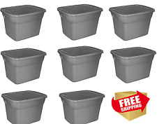Plastic Storage Container Sterilite Stackable Box 18 Gallon Tote Case Bin 8 Set
