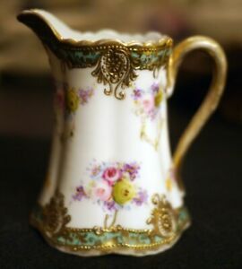 Antique Noritake Nippon Hand Painted Creamer with roses and gold highlights