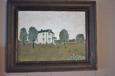 Primitive Antique Folk Art Landscape Painting Farm House Scene Farmington PA