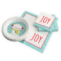 """7"""" Chirstmas Decorative Snowman Paper Plates and Napkins Set Party Serves 18"""