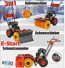 3in1 Kehrmaschine 6,5 PS Elektrostarter Benzin Schneefräse Schneeschieber
