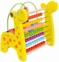 WOODEN ACTIVITY CUBE KID BABY BEAD MAZE MONTESSORI TOY EARLY LEARNING GIRAFFE