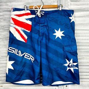 Quiksilver Board Shorts Mens Sz XL Blue Red Australia Flag Star Print Swimwear