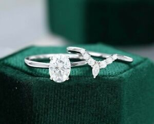 1.45 Ct Oval Cut White Sapphire Shaped Engagement Ring Set 925  Sterling Silver
