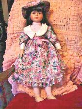 24 Inch Porcelain Ceramic Doll Flower Print Hat & Dress