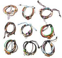 Men's Women's Multi-layer Adjustable Charm Bracelets Surfer Bead Wristband Cuff