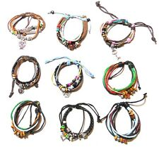 Men's Women's Multi-layer Adjustable Charm Bracelets Surfer Bead Wristband Cuff