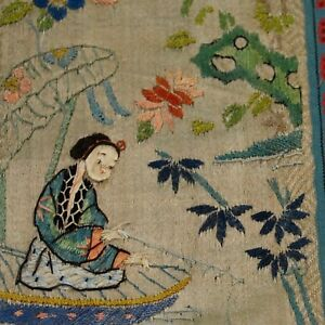 Chinese antique embroidery silk panel, lady fishing, Qing to Early Republic
