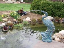 Deluxe Heron Pond Spitter-Crane Fountain-water garden accent-decor-bird statue