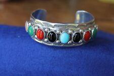Sterling Silver 925 Natural Gems Custom Bracelet Designer Signed Joe Moquino