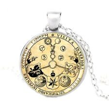 Rosicrucian Rose Magic Alchemist Hermetic Occult AMORC Pendant Silver Necklace