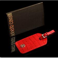$305 ROBERTO CAVALLI Croco Leather RED BAG CHARM / LUGGAGE TAG