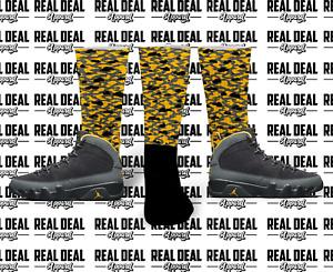 "Sneaker Match Socks ""CLOUD CAMO"" Jordan 9 Retro Dark Charcoal University Socks"