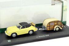 Porsche 356B Cabriolet mit Wohnanhänger gelb / beige 1:43 Hongwell