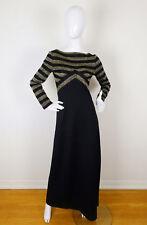 Vintage 70s PARTOUT Black & Gold Metallic Striped Maxi Dress XS S