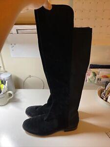 Corso Como Black Suede Neoprene Over The Knee Boots 9.5