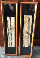 Vintage Bamboo Bird Foil Pictures Asian Wall Art Set Pair Wood Framed