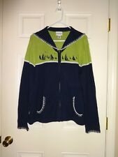 Breckenridge Cardigan Sweater Size XL Nautical Sailing Theme Zip Front