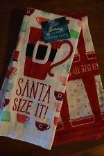"NEW Set of 2 ""Santa Size It!"" Kitchen Towels by St. Nicholas Square Xmas"