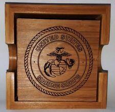 United States Marine Corps Bamboo Coaster Set With Holder