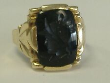 10 k gold antique  black onyx Roman soldier intaglio ring rare size 15,25-15,5