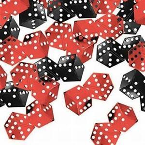 Dice Confetti Confetti 1/2 oz Pack Red Black Casino Vegas Party Decoration