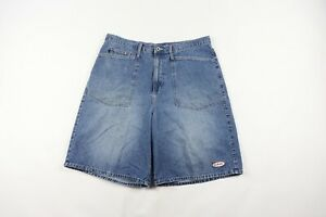 Vintage 90s Guess Mens 38 Streetwear Spell Out Big Logo Patch Denim Shorts Blue