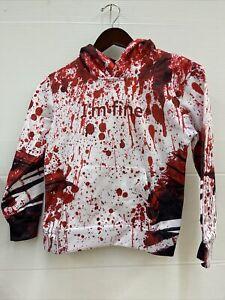 """Halloween Kids Size 5-6 Hooded Bloody """"I'm Fine"""" Sweatshirt."""