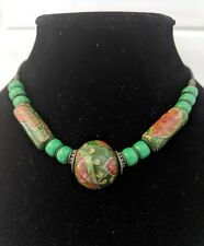 Decorative, Large, Green & Red Beaded Necklace