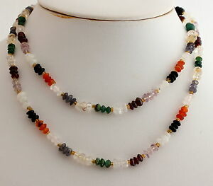 Chain with Colourful Natural Beads Gemstones Necklace - Disco Mix Necklace 80 CM