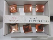 Alex & Zoe 6 square acrylic Peach color drawer pulls cabinet knobs