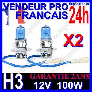 X2 AMPOULES XENON H3 100W LAMPE POUR VOITURE FEU SUPER WHITE PHARE 12V PLASMA