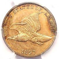1857 Flying Eagle Cent 1C - PCGS Uncirculated Details (UNC MS) - Rare Penny!