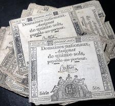 Random 1793 (Year 2) 15 Sols FRANCE Domaines Nationaux Assignat Signed Buttin
