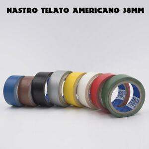 1 NASTRO ADESIVO TELATO AMERICANO 38mm x 25mt IN TELA TANTI COLORI DISPONIBILI