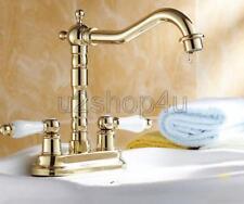 "Gold Color Brass Bathroom Vanity Sink 4"" Centerset Lavatory Faucet Unf262"