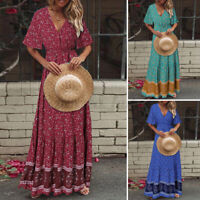 UK Women Summer Beach Floral Flare Swing Cocktail Party Tunic Long Maxi Sundress
