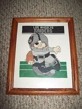 Vintage Los Angeles Raiders Cross Stitch Needlepoint Framed NFL Football Picture