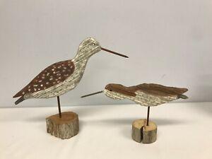 2 VTG HAND CARVED & PAINTED SENTINEL & SANDPIPER BIRDS SIGNED PHILYS B BOURUD
