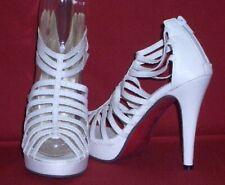 Gladiateur Sandales Chaussures de Mariée Bouts Ouverts Talons Hauts Blanc