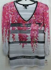 3X Style & Co Woman Pink Top/Shirt with see through sleeves & overlay look NWT!