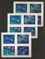 Bhutan 1967 Astronauts in Space 3-D SHEETS Set #91Cm, 91Gn, 91Ko VF-NH