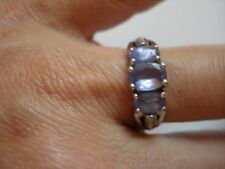 Lovely Gift~Sign OCD Sterling Silver 3-Stone Real Tanzanite Ring~Size7~Free Ship