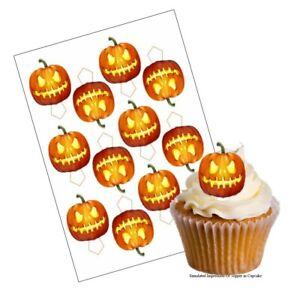 Cupcake Decoration Halloween Pumpkin Picks UNCUT 12 Stand Up Wafer Paper