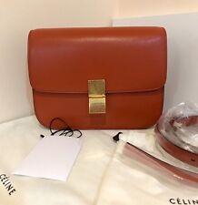 CELINE Classic Box Bag in Orange Goatskin Medium Shoulder Carry MSRP $4350