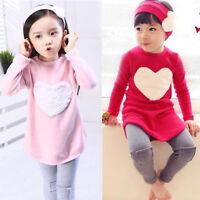 3PCS Set Kids Baby Girls Outfits Clothes Long Sweatshirt Tops + Pants + Headband