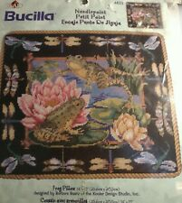 New Bucilla Needle Petite Point Frog Pillow Kit #4835 New In Pkg