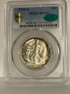 1945 S WALKING LIBERTY HALF DOLLAR GRADED & CERTIFITED PCGS MS66+ CAC